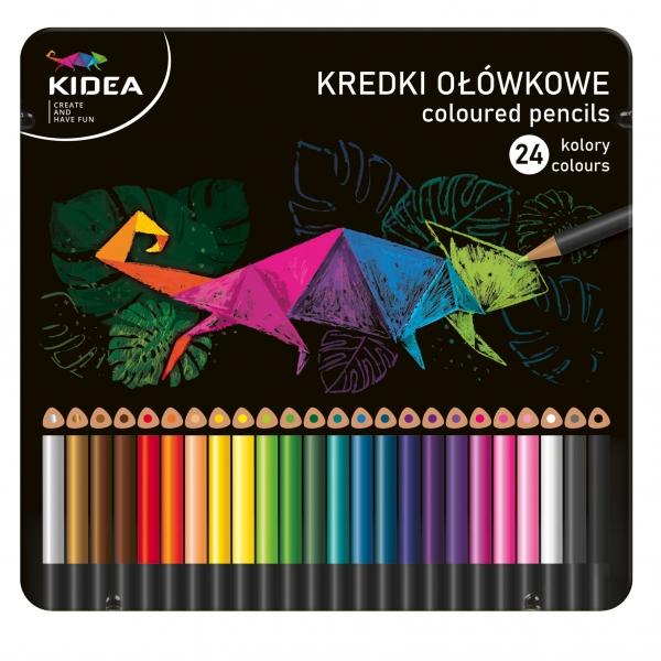 Kredki trójkątne Kidea w metalowym pudełku - 24 kolory (DRF-077625)
