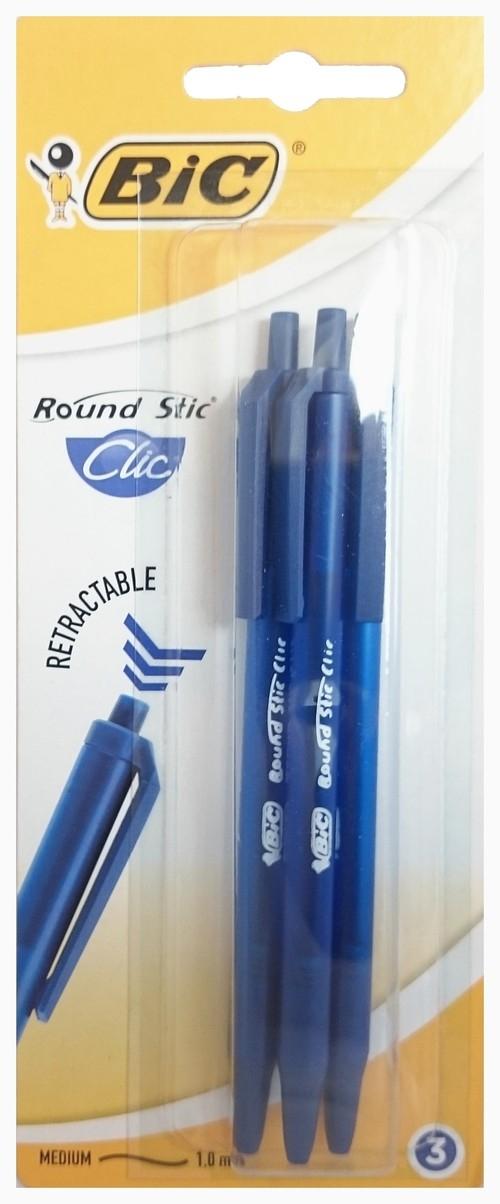 Długopis Round Stic Clic Niebieski blister 3 sztuki