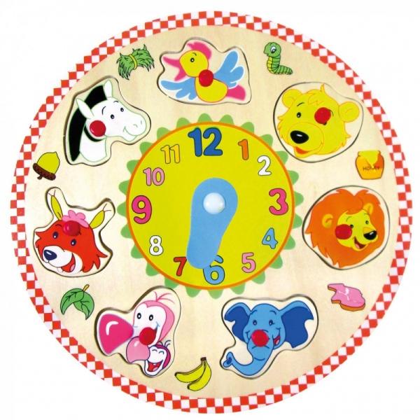Drewniany zegar puzzle zwierzęta (88062)