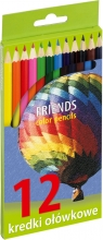 Kredki ołówkowe sześciokątne 12 kolorów