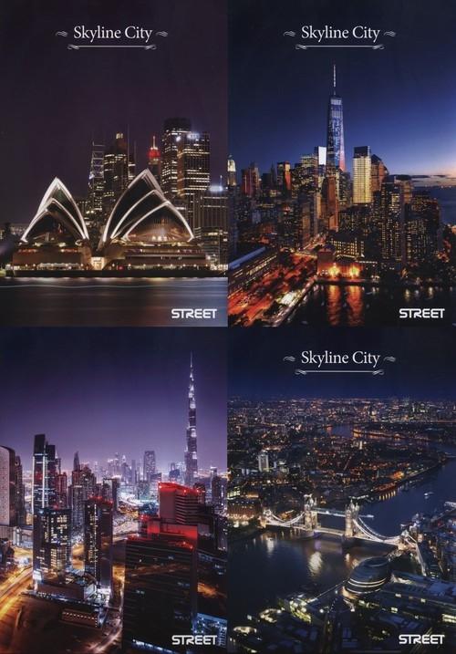 Zeszyt A4 Skyline city w kratkę 54 kartki 10 sztuk mix