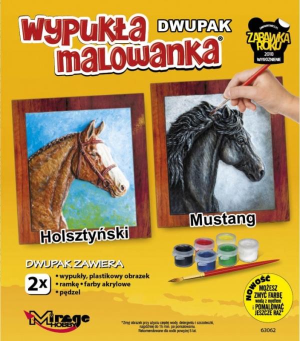 Wypukła malowanka Dwupak Konie Holsztynski-Mustang (63062)