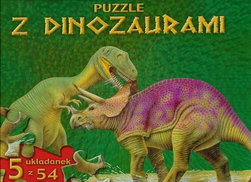 Puzzle z dinozaurami zielona