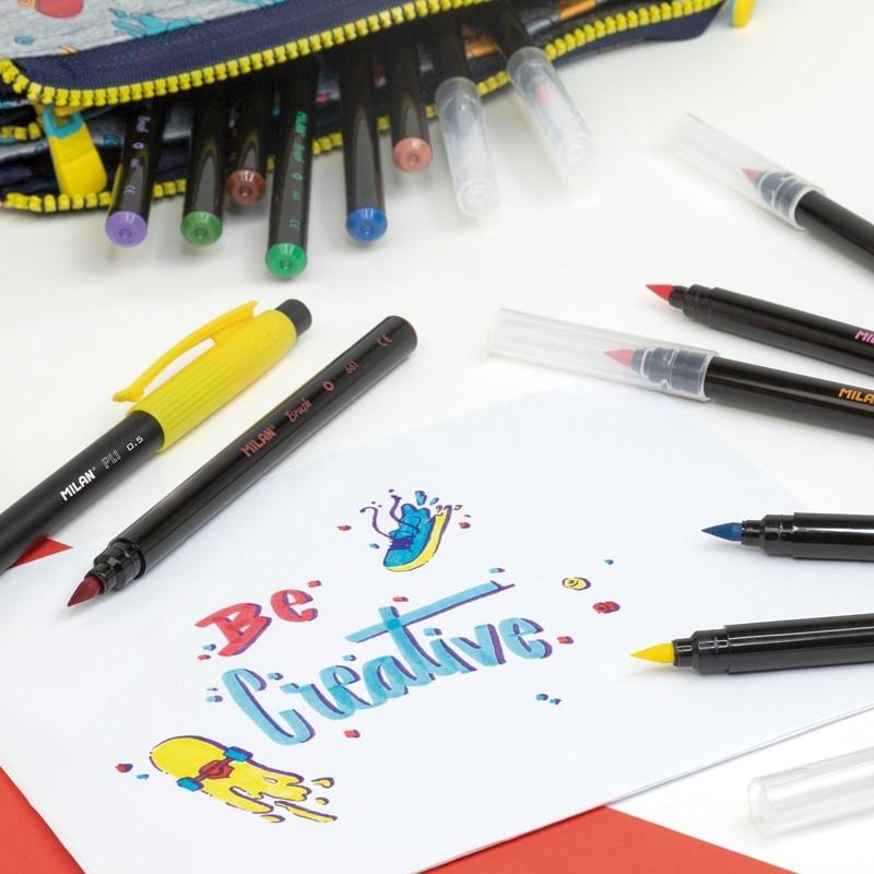 Flamastry Milan Brush 661 pędzelkowe 24 kolory w kartonowym opakowaniu (0612624)