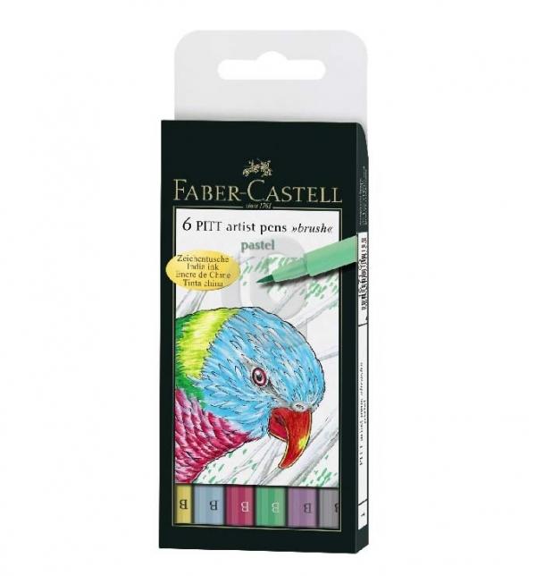Pisaki artist pens brush kolory pastelowe 6 sztuk (167163)