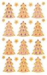 Świąteczne naklejki foliowe, tłoczone 3D - złote choinki