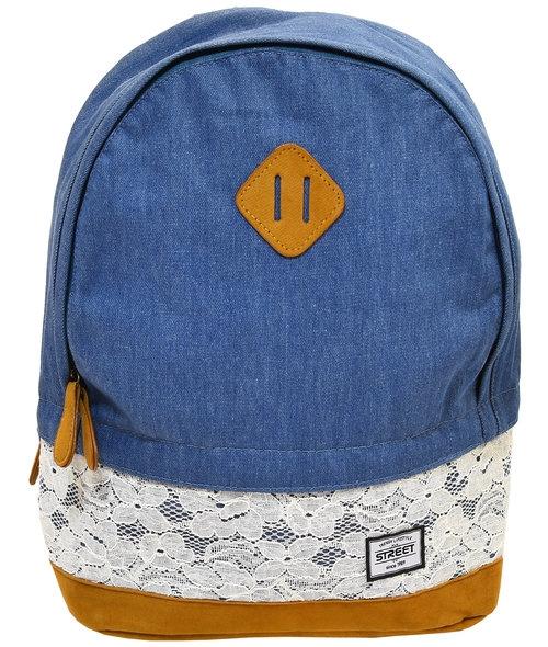 Plecak zaokrąglony szkolny młodzieżowy Jeans Lace