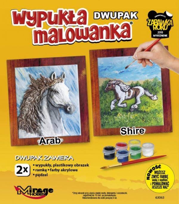 Wypukła malowanka Dwupak Konie Arab -Shire (63063)