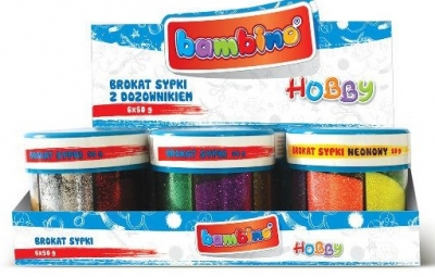 Brokat sypki w słoiku Bambino 6 kolorów