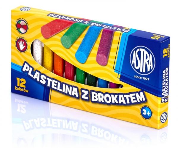 Plastelina Astra z brokatem, 12 kolorów (303107001)