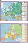 Podkładka edukacyjna.  Europa - mapa ogólnogeograficzna