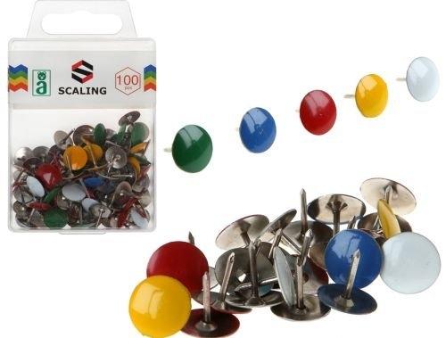 Kolorowe pinezki metalowe w pudełku Scaling