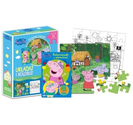 Peppa Pig. Bajkowe zabawy. Układaj i koloruj cz. 2 + puzzle Opracowanie zbiorowe
