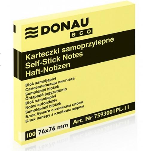Notes samoprzylepny Donau Eco, 76x76mm - żółty (102232)