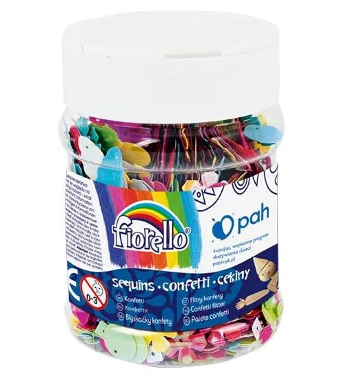 Confetti-cekiny mix wzorów, słoik 70g (170-2538)