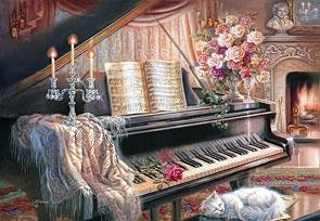Puzzle 1000 Fortepian przy kominku CASTOR (102648)