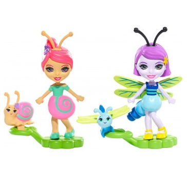Enchantimals: Małe Przyjaciółki Kwitnący Ogród 2-pak: Saxon Snail i Dara Dragonfly (FXM86/FXM89)
