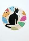 Karnet PM303 wycinany + koperta Czarno-biały kot