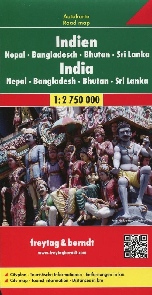 Indie Nepal Bangladesz Bhutan Mapa 1:2 750 000