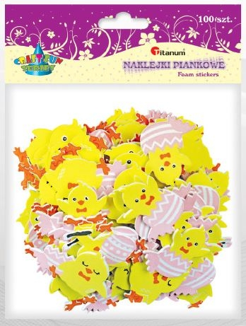Naklejki piankowe kurczaczki w pisankach 100 sztuk (395975)