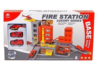 Parking samochodowy Adar wielopoziomowy, straży pożarnej, 2 metalowe auta i helikopter (511088)