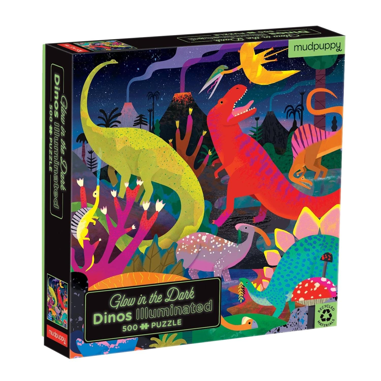 Mudpuppy, Puzzle rodzinne, świecące w ciemności 500: Dinozaury (MP66657)