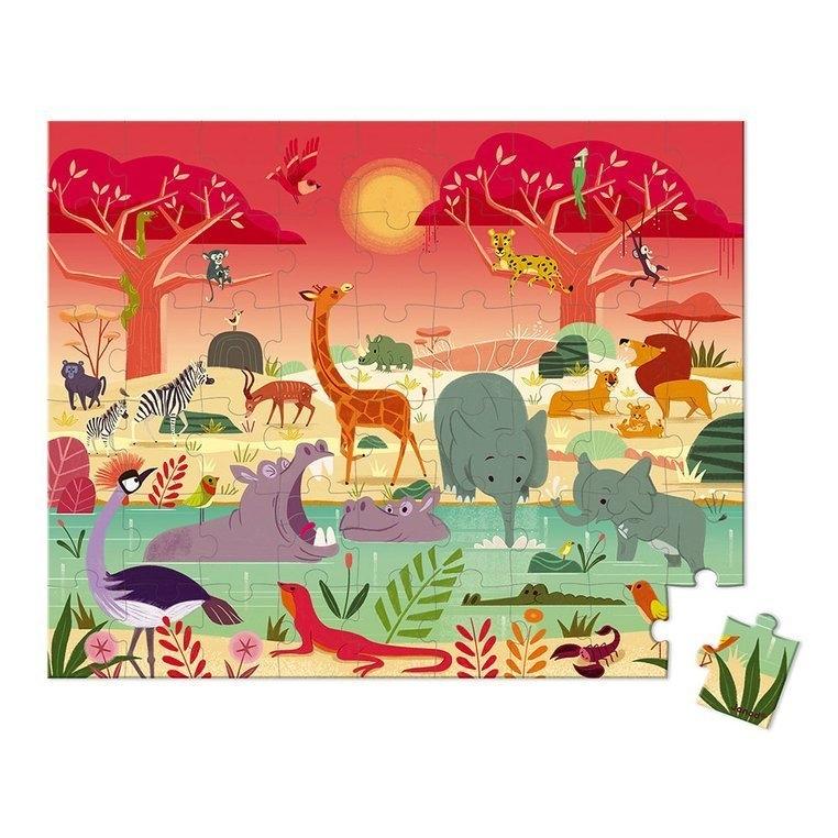 Puzzle w walizce Rezerwat zwierząt 54 elementy (J02666)