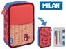 Piórnik MILAN 2-poziomowy z wyposażeniem NET & LIT róż