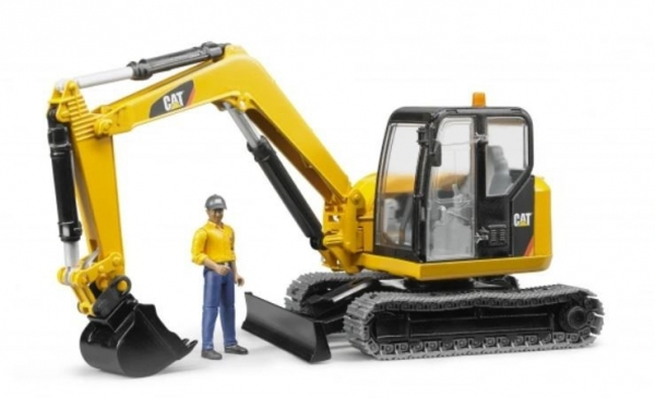 Minikoparka CAT z figurka robotnika (BR-02466)