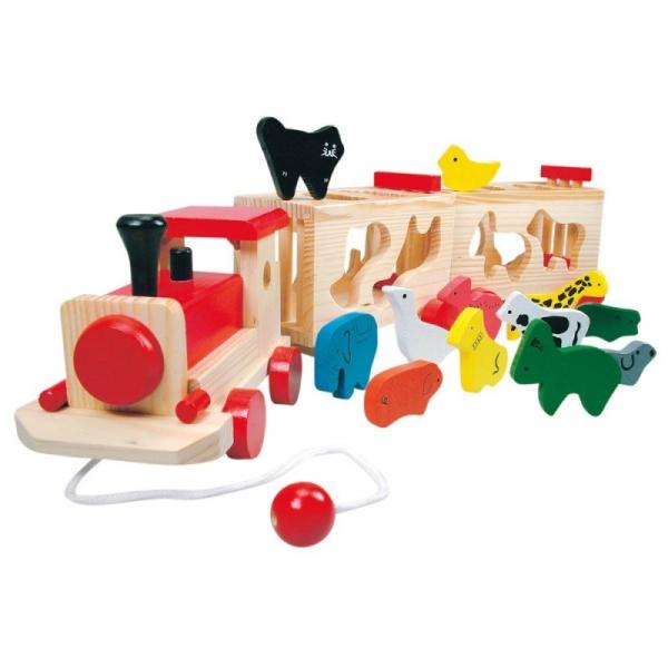 Drewniany sorter pociąg z wagonikami-zwierzęta (84166)