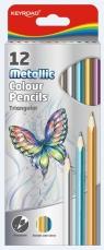 Kredki ołówkowe trójkątne metaliczne 12 sztuk mix kolorów