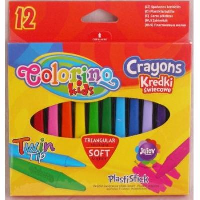 Kredki świecowe plastikowe trójkątne 12 kolorów (32667PTR)