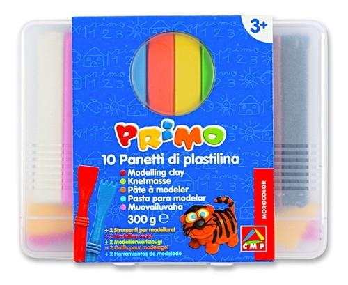 Plastelina Primo 10 kolorów + dwa patyczki do modelowania