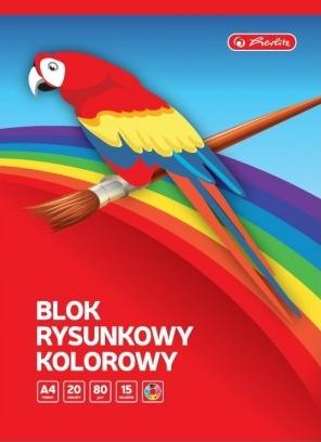 Blok rysunkowy A4/20k, 80g, 15 kolorów (9583675)