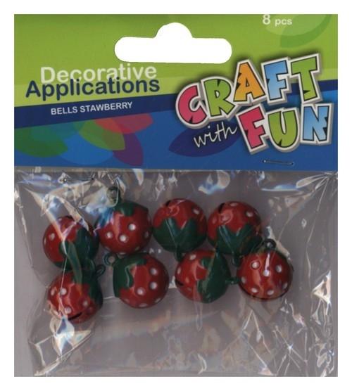Aplikacje dekoracyjne dzwoneczki truskawki 8 sztuk (339068)