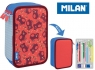 Piórnik MILAN 3-poziomowy z wyposażeniem NET & LIT róż 081364NLP