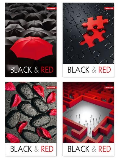 Brulion Dan-Mark Gloss Black&Red A5 krata 96 (1072) DANMARK