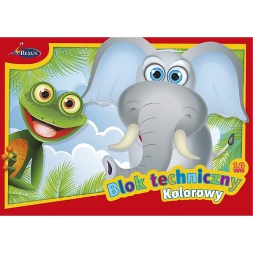 Blok techniczny kolorowy A4 10 kartek Słoń