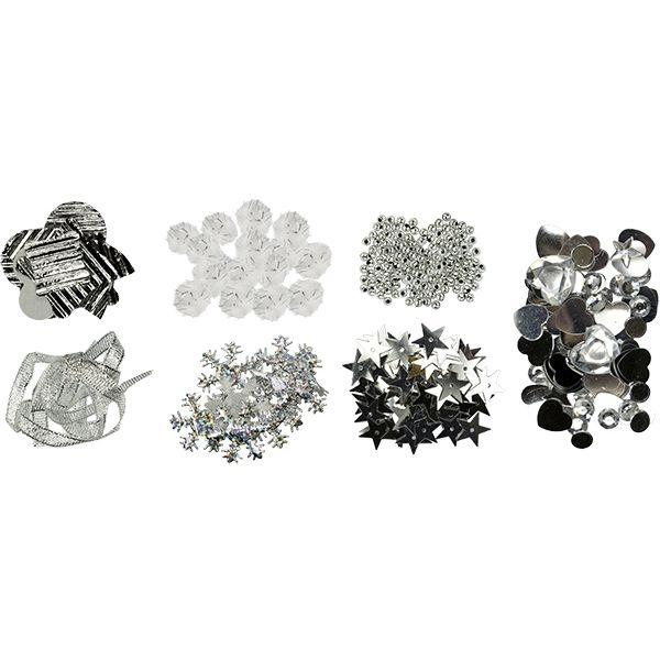Zestaw dekoracyjny - srebrny (412678)