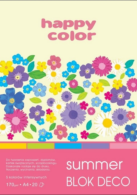 Blok deko summer A5 170g 20ark 5 kolorów