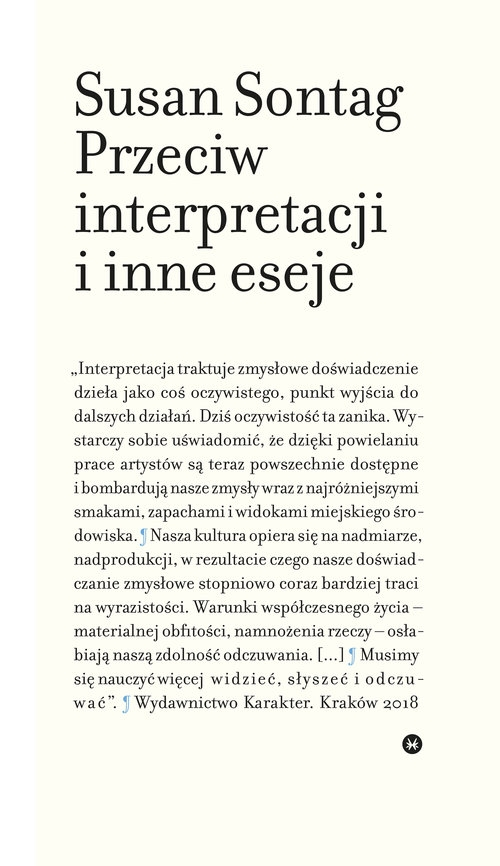 Przeciw interpretacji i inne eseje Sontag Susan