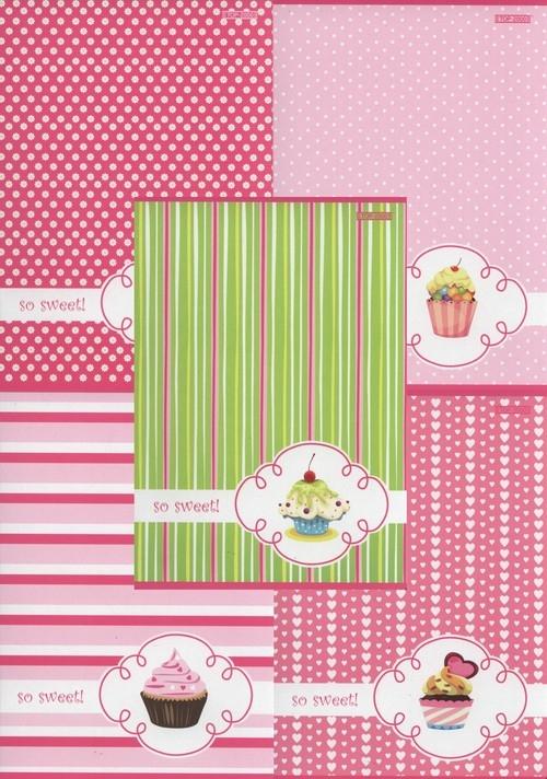 Zeszyt A5 Top-2000 w trzy linie 16 kartek Cupcake 20 sztuk mix