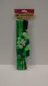 Komplet druty,pompony zielone 16072