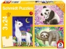Puzzle 3x24: Panda, leniwiec, lama