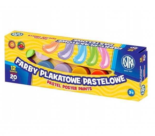 Farby plakatowe Astra, 12 kolorów x 20 ml - pastelowe (301118001)