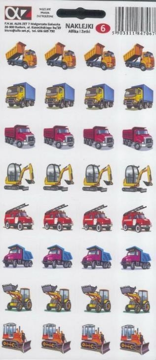 Naklejki Alfika i Zetki 6 Samochody budowlane