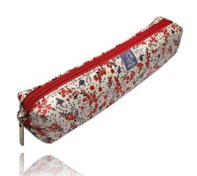 Piórnik mini prostokąt kwiatki czerwone PPM-19