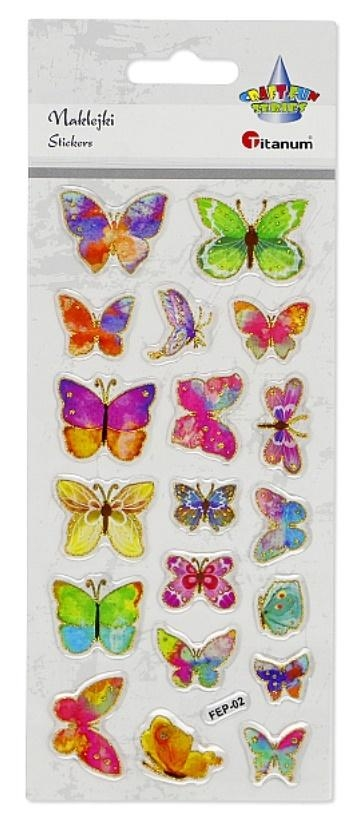 Naklejki wypukłe z żywicy epoksydowej motyle 19szt