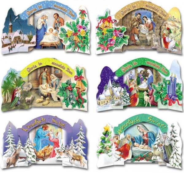 Karnet B6 Boże Nar. Szopka 3D Religia (10sz) MIX