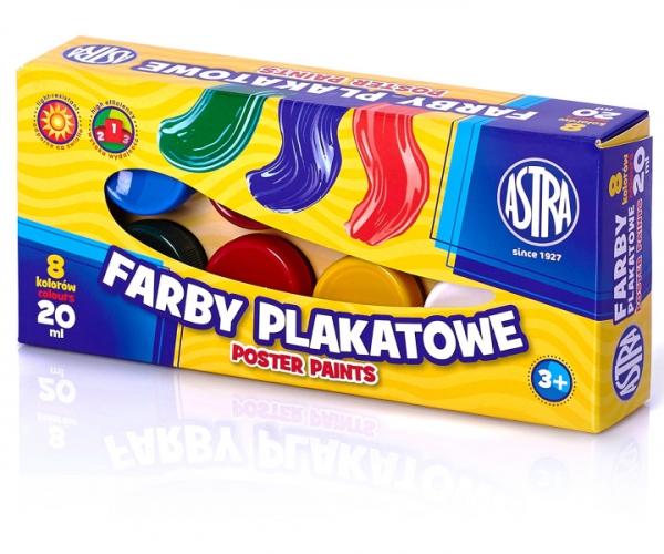 Farby plakatowe 8 kolorów - 20 ml